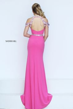 The unique style of the Sherri Hill 50341 halter neck prom dress is sure to attract admiring glances. This figure flattering gown showcases a softly ruched bodice with beaded halter neckline. A beaded strip runs down the center of the bodice, meeting the beaded waistband; and two beaded sleeves create a low off-the shoulder look. Beaded straps frame the cutout above the semi-open back. The full-length skirt flows sensually into a sleek sweep train.