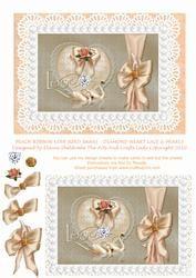 Peach Ribbon Love Bird Swans - Diamond Heart Lace & Pearls