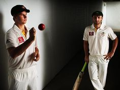 Cricketer Steve Smith with Phillip Hughes.