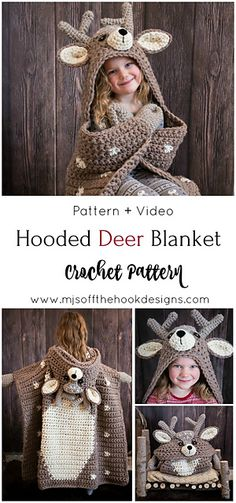 Ravelry: Hooded Woodland Deer Blanket pattern by MJ's Off The Hook Designs #deerblanket #crochet #crochetpattern #crochetblanket #deer #hoodedblanket #crochetdeerpattern #hoodeddeerblanket