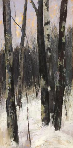 """Maureen Spinale, """"Dimming of the Day,"""" Ludwig and Unison pastels over black ink and charcoal on UART 400 grade, 24x12 in. I was captivated by the bark, the moss, the scars, and how they stood together nestled in snow."""