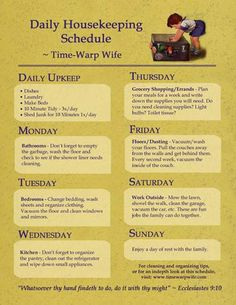 "Schedule...... If I ever decide to be a ""good"" wife. But my kids will be (always have been) responsible for their own laundry, linens, room tidiness and their bathroom (also the ""community"" bathroom)."