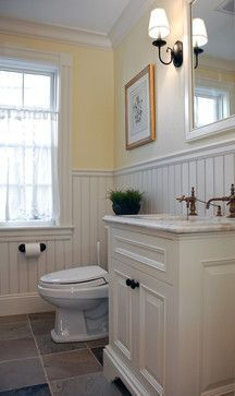 Merveilleux Beadboard Bathroom Design, Yellow Wall, And Tile.