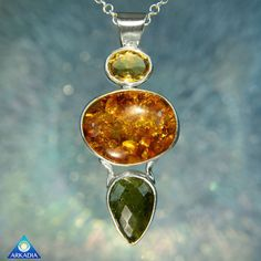 Baltic Amber Citrine & Moldavite Gemstone 925 by ArkadiaCollection