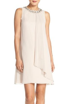 Vince Camuto Vince Camuto Embellished Cascade Chiffon Shift Dress available at Shift Dress Outfit, Party Dress Outfits, Mob Dresses, Casual Dresses, Fashion Dresses, Off White Dresses, Little White Dresses, Sparkly Dresses, Lil Black Dress