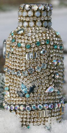 Vintage Rhinestones Jeweled Glass Bottle Clear by ASoulfulJourney