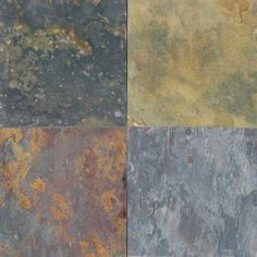 multi colored classic slate wall tile by MSI Stone Would love this or something like it for around the bathroom sink as backsplash Slate Wall Tiles, Slate Flooring, Cork Flooring, Flooring Ideas, Slate Countertop, Countertops, French Pattern, Terracota, Flagstone