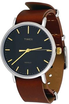 Timex 'Weekender' Quartz Brass and Leather Automatic Watch, Color:Brown (Model…