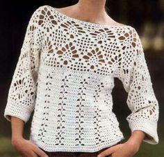 Blusa em crochê com Ponto Abacaxi com Gráficos - Katia Ribeiro Crochê Moda e Decoração Handmade
