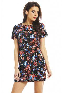 BLACK FLORAL SMOCK DRESS  shopmodmint.com