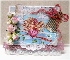Card by LLC DT Member Alyce Keegan, using papers from Maja Design's Vintage Summer Basics collection. Image from Whimsy Stamps.