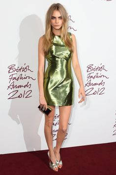 Cara Delevingne // British Fashion Awards, November 2012 // Burberry dress with Dominic Jones jewellery
