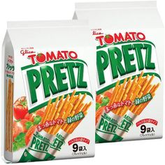 Glico Pretz Tomato flavor is one of the long selling Japanese snacks. These thin, crunchy and a bit salty biscuit pretzels are infused with tomato pesto and other vegetables such as onion and dry spinach. Japanese Snacks, Japanese Food, Tomato Pesto, Spinach, Biscuits, Food And Drink, Vegetables, Sticks, Tokyo