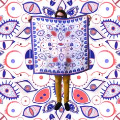 """""""Eyes On You"""" Scarf. 100% Silk, digitally printed Dry Clean Only 36 in. x 36 in.  Made in America."""