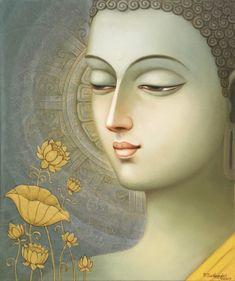 Buddha painting in oil & acrylic by Seshagiri Pamula. Dimensions: x 51 cm. Budha Painting, Ganesha Painting, See Yourself, Buddha Drawing, Buddha Artwork, Madhubani Art, Indian Art Paintings, Krishna Art, Buddhist Art