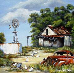 Art by Stella Watercolor Landscape, Landscape Art, Landscape Paintings, Watercolor Paintings, Original Paintings, Protea Art, Farm Paintings, Truck Art, Africa Art