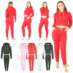 Womens Ladies Plain Cropped Hooded Tracksuit Set Top Bottom Trouser Hoodies Xs-l Women's Clothing