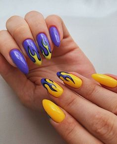 Edgy Nails, Grunge Nails, Stylish Nails, Trendy Nails, Edgy Nail Art, Minimalist Nails, Yellow Nails, Purple Nails, Nail Swag