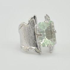 [1040] sterling silver green amethyst 14x10mm wavy split taper ring size 8