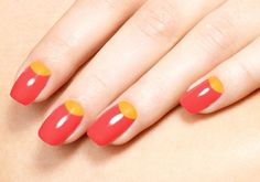 20 Extremely Cute Half-moon Nail Art Designs You Must Try: Red Nails with Yellow Half-moon Manicure