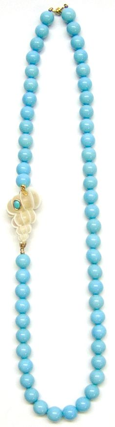"Helga Wagner Turquoise Mother of Pearl Necklace with Wentletrap Shell and Turquoise Cabochon set in 14 K gold, 30""."