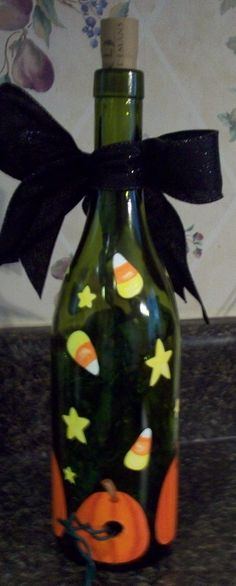 Hand Painted Halloween Lighted Wine Bottle by keepitsassydesigns, $35.00