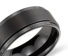 Ridged Edge Wedding Ring in Black Tungsten Carbide (9mm) - Blue Nile grooms ring