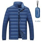 Mens Winter Light Warm Solid Color White Down Jacket Sport Oudoor Coat Stand Collar Outwear