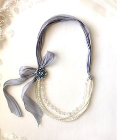 Pearl Bead Necklace with Blue Silk Ribbon and Vintage Brooch - Bridal Jewelry