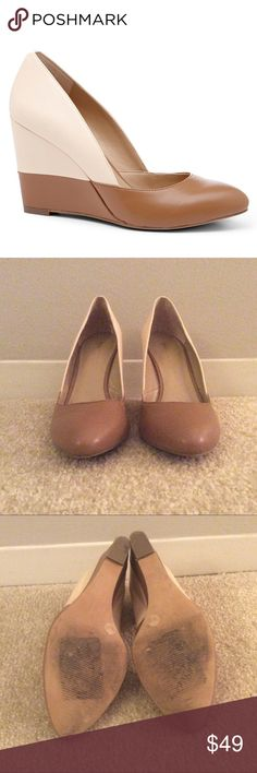 Sole Society Maile Two-tone Wedge Heels EUC Sole Society colorblock wedge heels in ivory and brown, size 7. Worn only a few times. Comes with original box. Sole Society Shoes Wedges
