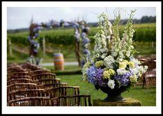Hydrangeas - Wedding Arbors, Arches, Altars and More! Wedding Arbors, Wedding Ceremony Flowers, Hydrangea Flower, Hydrangeas, Purple Wedding, Chic Wedding, Wedding Details, Wedding Ideas, Purple Orchids