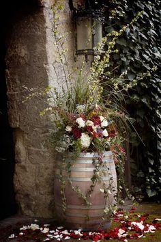 Wine barrels in the garden