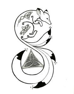 nine tailed fox tattoo art Tribal Animal Tattoos, Tribal Drawings, Tribal Fox, Tribal Animals, Pencil Drawings, Weird Tattoos, Cool Small Tattoos, Wolf Tattoos, Easy Tattoos