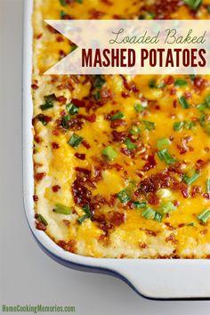 Loaded Baked Mashed Potatoes load bake, baked potatoes, side dishes, mashed potatoes, mash potato, potato skins, roasted garlic, bake mash, thanksgiving sides