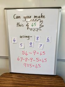 Fun Math Game To make this more challenging for middle schoolers I was adjust the challenge so that students must create 1 expression using all the numbers, this way they need to consider Order of Operations