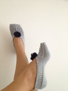 Grey Healthy Booties Home slippers Dance classic yoga by NesrinArt, $19.00