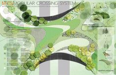 ARC Wildlife Crossing Design Competition Designs revealed - World Landscape Architecture World Landscape Architecture Landscape Concept, Landscape Architecture Design, Landscape Plans, Architecture Drawings, Urban Landscape, Landscape Drawings, Arc Competition, Planer Layout, Plan Sketch
