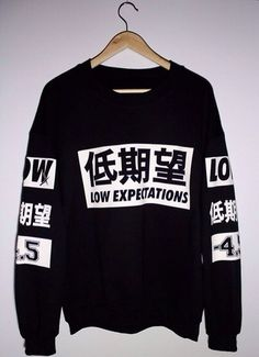 sweater japanese black white black and white w&b b&w streetstyle chic dope urban shirt white and black tshirt japanese fashion sweatshirt swag low expectations dope shit chinese writing crewneck grunge top