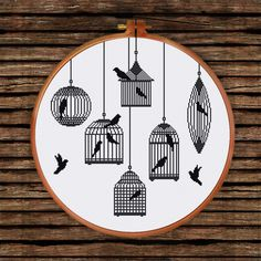 Bird Cages Silhoutte cross stitch pattern Modern от ThuHaDesign                                                                                                                                                                                 More