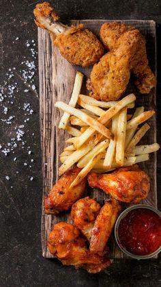 Cafe Food, Food Menu, Fried Chicken Legs, Chicken Wings, Chicken Tenders, Chicken Pasta, Good Food, Yummy Food, Air Fryer Healthy