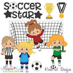 Sports Party, Kids Sports, Filing Papers, Girls Soccer, Soccer Stars, Paper Piecing Patterns, Star Girl, Digital Stamps, Christmas Treats