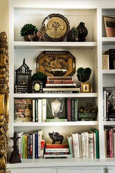 How to Stage Easy + Sensational Bookshelves How to Style Bookshelves, Adding Layers to Bookshelves, Styling Bookshelves, How to Decorate Bookshelves, Celebrating Everyday Life with Jennifer Carroll Styling Bookshelves, Decorating Bookshelves, Bookshelf Design, Bookshelf Ideas, Bookcases, Book Shelves, How To Decorate Bookshelves, Wall Of Bookshelves, Corner Shelves