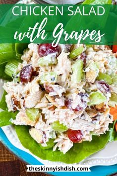 Chicken Salad with Grapes - The Skinnyish Dish Easy Meal Prep Lunches, Prepped Lunches, Healthy Meal Prep, Quick Meals, Healthy Eating, Easy Dinners, Chicken Salad With Grapes, Chicken Salad Recipes, Healthy Salad Recipes