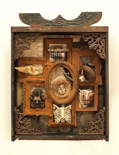 """""""Arrive Where We Started"""" 2016 mixed media assemblage by Dianne Hoffman Collages, Collage Art, Collage Ideas, Unique Art Projects, Shadow Box Art, Found Object Art, Junk Art, Assemblage Art, Mixed Media Artists"""