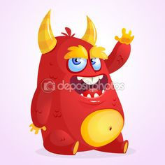 Happy cartoon monster. Halloween vector horned fat monster sitting and waving…