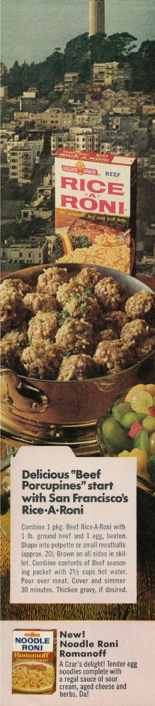 """Rice-A-Roni Beef Porcupines.  Oh, yes, I remember!  """"Rice-A-Roni, The San Francisco Treat!  Rice-A-Roni, Everybody's Got The Beat!""""  (1970s)"""