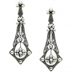 Tear Drop Seed Pearl Sterling Silver Earrings Dahlia Vintage Collection