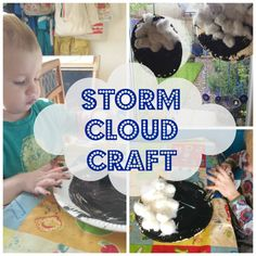 Storm Cloud Craft using paper plate, paint, cotton wool and buttons.