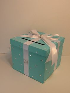 Wedding Card Box Gift Card Box Money Box  Holder--Customize in your color/made to order (10x10x9). $68.00, via Etsy.