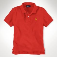 Polo by Ralph Lauren SS Mesh Collar Shirt - Tomato Red - $35.00 - sizes:  4 & 5